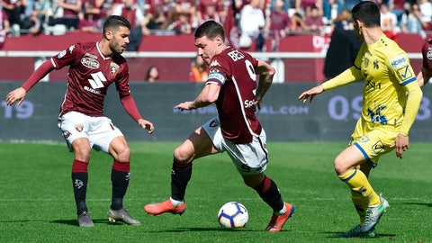 <p>               Torino's Andrea Belotti, center, controls the ball during a Serie A soccer match between Torino and Chievo Verona, at the Olimpico Grande Torino stadium in Turin, Italy, Sunday, March 3, 2019. (Alessandro Di Marco/ANSA via AP)             </p>
