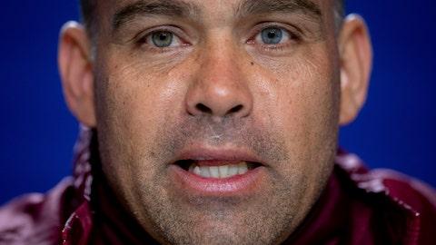<p>               Venezuela's national soccer team coach Rafael Dudamel attends a press conference in Madrid, Spain, Thursday, March 21, 2019. Venezuela will play a friendly soccer match against Argentina on Friday. (AP Photo/Bernat Armangue)             </p>