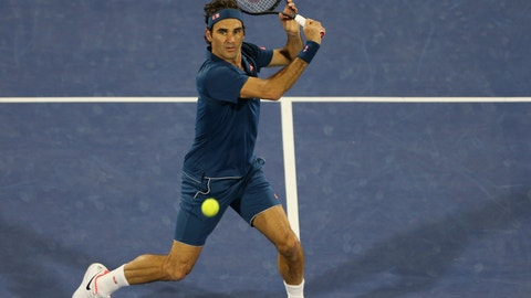 <p>               Roger Federer of Switzerland returns the ball to Stefanos Tsitsipas of Greece during their final match at the Dubai Duty Free Tennis Championship, in Dubai, United Arab Emirates, Saturday, March 2, 2019. (AP Photo/Kamran Jebreili)             </p>