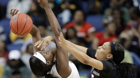 <p>               South Carolina's Victaria Saxton (5) knocks the ball from Baylor's Kalani Brown (21) during the first half of a regional women's college basketball game in the NCAA Tournament in Greensboro, N.C., Saturday, March 30, 2019. (AP Photo/Chuck Burton)             </p>