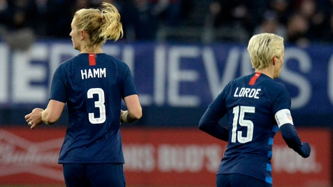 <p>               United States midfielder Samantha Mewis (3) and forward Megan Rapinoe (15) play against England during the second half of a SheBelieves Cup women's soccer match Saturday, March 2, 2019, in Nashville, Tenn. Mewis honors Mia Hamm and Rapine honors Audre Lorde by wearing their names on the back of their jerseys. (AP Photo/Mark Zaleski)             </p>