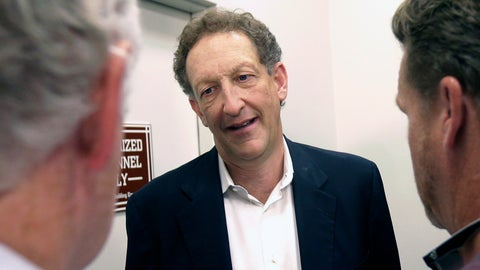 """<p>               FILE - In this Monday, Oct. 5, 2015 file photo, San Francisco Giants president and CEO Larry Baer speaks to reporters after a news conference in San Francisco. A video posted by TMZ on Friday, March 1, 2019 shows Giants President and CEO Larry Baer in a physical altercation with his wife in a San Francisco park. Baer's wife, Pam, was seated in a chair when he reached over her to grab for a cellphone in her right hand and she toppled sideways in the chair screaming """"Oh my God!"""" and kicking a leg. Witnesses saw the ordeal in the public plaza. (AP Photo/Jeff Chiu, File)             </p>"""