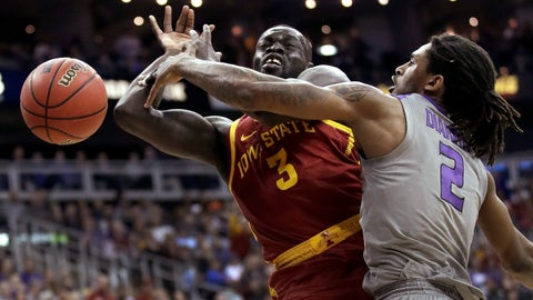 <p>               Kansas State's Cartier Diarra (2) knocks the ball away from Iowa State's Marial Shayok (3) during the first half of an NCAA college basketball game in the Big 12 men's tournament Friday, March 15, 2019, in Kansas City, Mo. (AP Photo/Charlie Riedel)             </p>