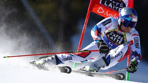 <p>               France's Alexis Pinturault speeds down the course during an alpine ski, men's giant slalom, at the alpine ski, World Cup finals in Soldeu, Andorra, Saturday, March 16, 2019. (AP Photo/Alessandro Trovati)             </p>