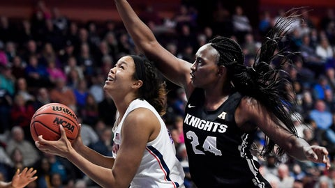 <p>               Connecticut's Napheesa Collier, left, shoots as Central Florida's Fifi Ndour, right, defends during the second half of an NCAA college basketball game in the American Athletic Conference women's tournament finals, Monday, March 11, 2019, at Mohegan Sun Arena in Uncasville, Conn. (AP Photo/Jessica Hill)             </p>