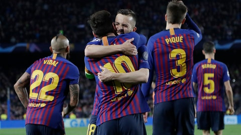 <p>               Barcelona's Lionel Messi, centre, is hugged by Jordi Alba after scoring his side's third goal during the Champions League round of 16, 2nd leg, soccer match between FC Barcelona and Olympique Lyon at the Camp Nou stadium in Barcelona, Spain, Wednesday, March 13, 2019. (AP Photo/Emilio Morenatti)             </p>