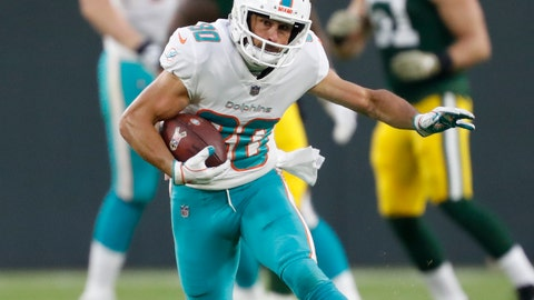 <p>               FILE - In this Nov. 11, 2018, file photo, Miami Dolphins' Danny Amendola runs after a catch during the first half of an NFL football game against the Green Bay Packers, in Green Bay, Wis. The Detroit Lions signed Danny Amendola, giving them a slot receiver they missed after trading Golden Tate to Philadelphia last season. Detroit made the move Monday, March 11, 2019, to add another former New England Patriot to the organization.  Amendola had 59 receptions for 575 yards and one touchdown last season with the Miami Dolphins after playing for New England from 2013-17 and winning two Super Bowls. (AP Photo/Matt Ludtke, File)             </p>
