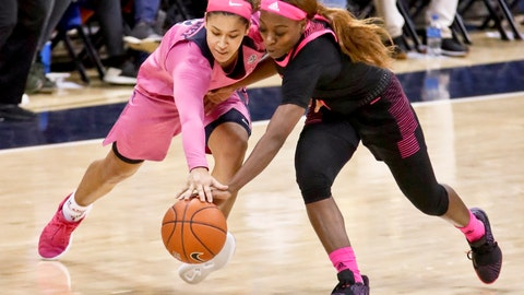 <p>               Pittsburgh's Jasmine Whitney, left, and Louisville's Dana Evans chase after the ball during the second half of an NCAA college basketball game, Sunday, March 3, 2019, in Pittsburgh. (AP Photo/Keith Srakocic)             </p>