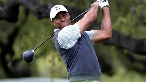 <p>               Tiger Woods watches his drive on the eighth hole during fourth round play at the Dell Technologies Match Play Championship golf tournament, Saturday, March 30, 2019, in Austin, Texas. (AP Photo/Eric Gay)             </p>