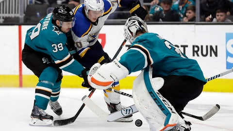 <p>               St. Louis Blues' Oskar Sundqvist (70) takes a shot against San Jose Sharks goalie Martin Jones, right, during the third period of an NHL hockey game Saturday, March 9, 2019, in San Jose, Calif. Also defending is Sharks' Logan Couture (39). (AP Photo/Ben Margot)             </p>