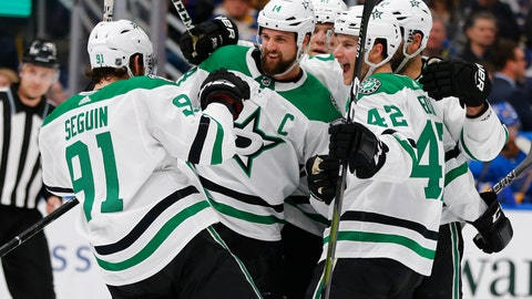 <p>               Dallas Stars' Jamie Benn (14) celebrates with teammates after scoring a goal against the St. Louis Blues during the first period of an NHL hockey game Saturday, March 2, 2019, in St. Louis. (AP Photo/Dilip Vishwanat)             </p>