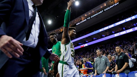 <p>               Boston Celtics' Marcus Smart gestures to the crowd as he is escorted off the court after committing a flagrant foul against Philadelphia 76ers' Joel Embiid during the second half of an NBA basketball game Wednesday, March 20, 2019, in Philadelphia. Philadelphia won 118-115. (AP Photo/Matt Slocum)             </p>