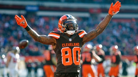 <p>               FILE - In this Nov. 11, 2018, file photo, Cleveland Browns wide receiver Jarvis Landry reacts in the second half of an NFL football game against the Atlanta Falcons, in Cleveland. No longer a punching bag, the Browns are punching back.(AP Photo/David Richard, File)             </p>