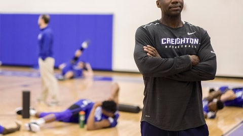 <p>               FILE - In this March 17, 2017, file photo, Creighton assistant coach Preston Murphy, right, stands as players warm up during practice in Omaha, Neb. Creighton has placed Murphy on administrative leave after he was implicated in a sting in which he allegedly took a $6,000 from an aspiring sports agent to send clients his way. Athletic director Bruce Rasmussen said in a statement Friday night, March 8, 2019, that Murphy would be on leave pending an internal review. (AP Photo/Nati Harnik, File)             </p>