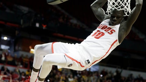<p>               New Mexico's Caleb Martin dunks during the second half of the team's NCAA college basketball game against Wyoming in the Mountain West Conference men's tournament Wednesday, March 13, 2019, in Las Vegas. (AP Photo/Isaac Brekken)             </p>
