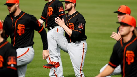 <p>               FILE - In this Feb. 15, 2019, file photo, San Francisco Giants catcher Joey Bart, center, works out during a spring training baseball practice, in Scottsdale, Ariz. The Giants' Joey Bart already looks like a big leaguer in his first camp. The same with Nick Madrigal of the White Sox and the four college pitchers the Royals chose within the first 40 selections last season. Perhaps they are the beginning of a trend toward quick-to-the-bigs draft picks _ guys who can provide rather immediate help not unlike the NFL or the NBA. (AP Photo/Matt York, File)             </p>