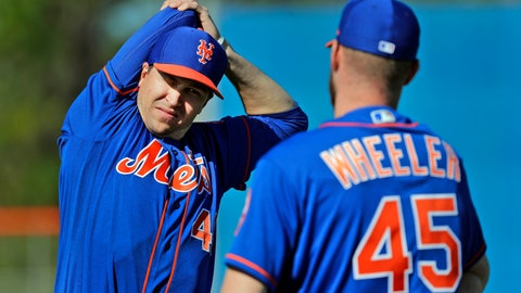 <p>               FILE - In this Feb. 14, 2019, file photo, New York Mets pitcher Jacob deGrom, left, talks with teammate Zack Wheeler while stretching during spring training baseball practice in Port St. Lucie, Fla. (AP Photo/Jeff Roberson, File)             </p>