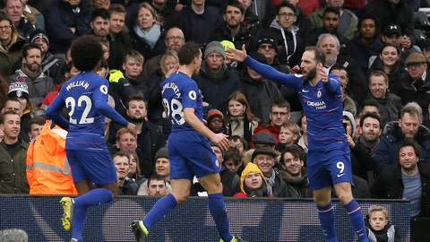 <p>               Chelsea's Gonzalo Higuain, right, celebrates with his teammates Cesar Azpilicueta, center and Willian, after scoring his side's opening goal, during the English Premier League soccer match between Fulham and Chelsea at Craven Cottage stadium in London, England, Sunday, March 3, 2019. (AP Photo/Tim Ireland)             </p>