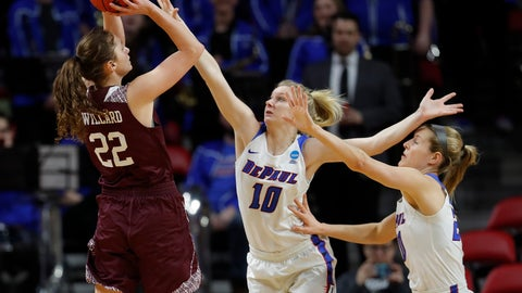 <p>               Missouri State guard Alexa Willard, left, drops back for a shot as DePaul guards Lexi Held, center, and Kelly Campbell, right, defend during the first half of a first round women's college basketball game in the NCAA Tournament, Saturday, March 23, 2019, in Ames, Iowa. (AP Photo/Matthew Putney)             </p>