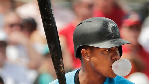 <p>               Miami Marlins' Starlin Castro (13) blows a bubble as he bats in the third inning of an exhibition spring training baseball game against the St. Louis Cardinals on Wednesday, March 13, 2019, in Jupiter, Fla. (AP Photo/Brynn Anderson)             </p>