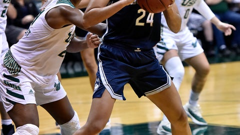 <p>               South Florida's Shae Leverett, left, defends against Connecticut's Napheesa Collier (24) during the second half of an NCAA basketball game Monday, March 4, 2019, in Tampa, Fla. (AP Photo/Steve Nesius)             </p>