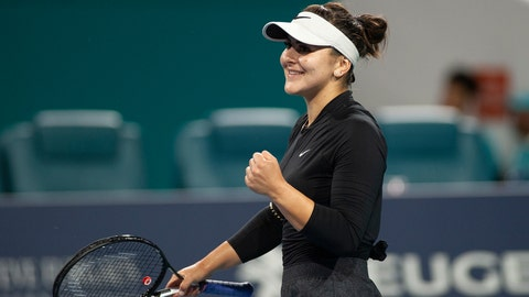 <p>               Bianca Andreescu, of Canada, reacts after winning her match against Angelique Kerber, of Germany, during the Miami Open tennis tournament Sunday, March 24, 2019, in Miami Gardens, Fla. (AP Photo/Gaston De Cardenas)             </p>