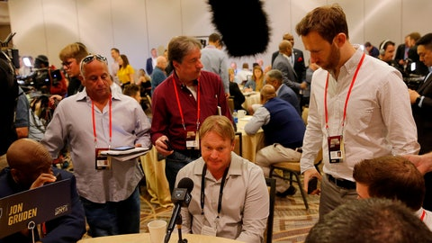 <p>               Oakland Raiders head coach Jon Gruden speaks to the media during the NFC/AFC coaches breakfast during the annual NFL football owners meetings, Tuesday, March 26, 2019, in Phoenix. (AP Photo/Matt York)             </p>