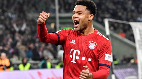 <p>               Bayern's Serge Gnabry celebrates after he scored his side's 4th goal during the German Bundesliga soccer match between Borussia Moenchengladbach and FC Bayern Munich in Moenchengladbach, Germany, Saturday, March 2, 2019. (AP Photo/Martin Meissner)             </p>