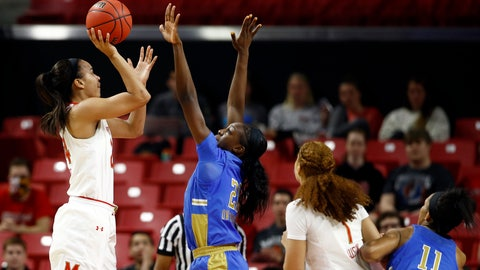 <p>               Maryland forward Stephanie Jones, left, shoots over UCLA forward Michaela Onyenwere, second from left, Maryland forward Shakira Austin (1) and UCLA forward Lajahna Drummer during the first half of a second-round game in the NCAA women's college basketball tournament Monday, March 25, 2019, in College Park, Md. (AP Photo/Patrick Semansky)             </p>