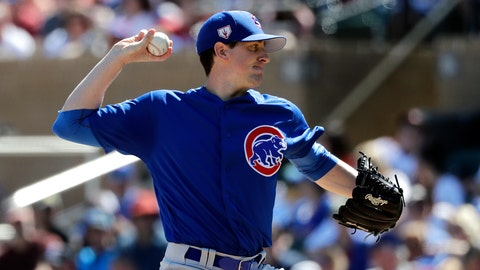 <p>               Chicago Cubs starting pitcher Kyle Hendricks throws against the Arizona Diamondbacks in the first inning of a spring training baseball game Saturday, March 16, 2019, in Scottsdale, Ariz. (AP Photo/Elaine Thompson)             </p>