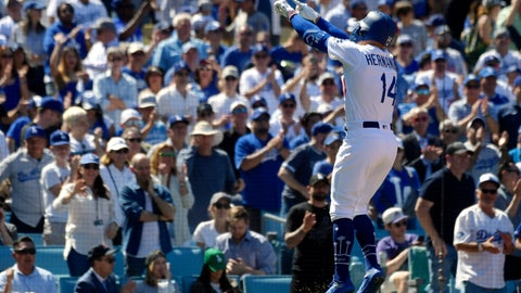 <p>               Los Angeles Dodgers' Enrique Hernandez gestures toward the crowd after hitting a two-run home run during the fourth inning of a baseball game against the Arizona Diamondbacks, Thursday, March 28, 2019, in Los Angeles. (AP Photo/Mark J. Terrill)             </p>