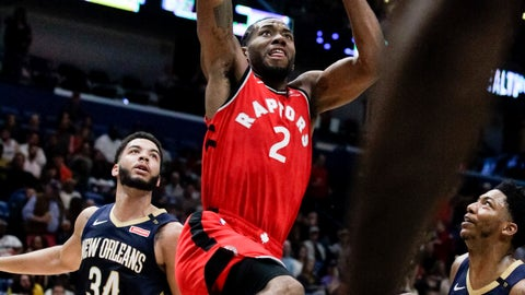 <p>               Toronto Raptors forward Kawhi Leonard (2) scores against New Orleans Pelicans guard Kenrich Williams (34) in the first half of an NBA basketball game in New Orleans, Friday, March 8, 2019. (AP Photo/Scott Threlkeld)             </p>