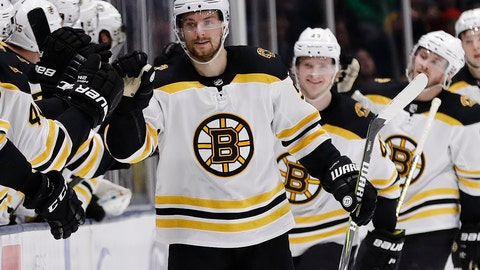<p>               Boston Bruins center Sean Kuraly celebrates with teammates after scoring a goal during the second period of an NHL hockey game against the New York Islanders Tuesday, March 19, 2019, in Uniondale, N.Y. (AP Photo/Frank Franklin II)             </p>