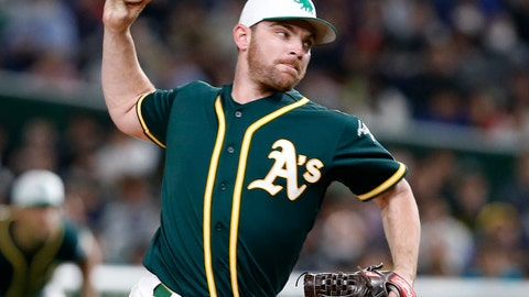 <p>               In this Sunday, March 17, 2019, photo, Oakland Athletics starter Liam Hendriks pitches against the Nippon Ham Fighters in the first inning of their preseason exhibition baseball game at Tokyo Dome in Tokyo. Hendriks made the jump from playing tee-ball in Australia to being the opening pitcher last season for the Athletics in the playoffs. (AP Photo/Toru Takahashi)             </p>