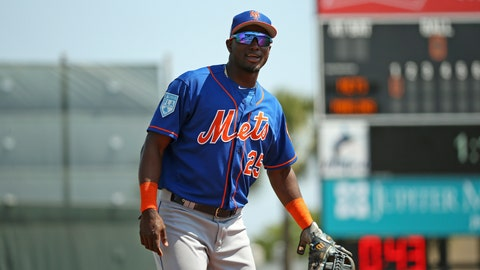 <p>               New York Mets third baseman Adeiny Hechavarria (25) smiles during the first inning  against the Miami Marlins during a spring training baseball game, Tuesday, March 12, 2019, in Jupiter, Fla. (David Santiago/Miami Herald via AP)             </p>