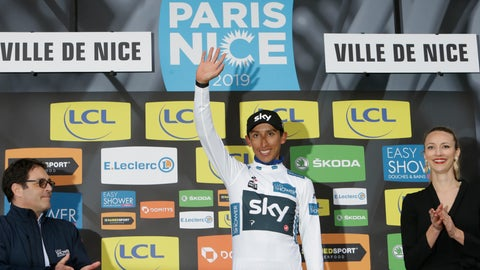 <p>               Winner of the Paris Nice cycling race Colombia's Egan Arley Bernal Gomez, who also took the best young rider's white jersey, celebrates on the podium in Nice, southeastern France, Sunday, March 17, 2019. (AP Photo/Claude Paris)             </p>
