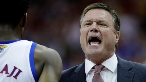 <p>               Kansas coach Bill Self talks to players during the first half of the team's NCAA college basketball game against Iowa State in the Big 12 men's tournament final Saturday, March 16, 2019, in Kansas City, Mo. (AP Photo/Charlie Riedel)             </p>