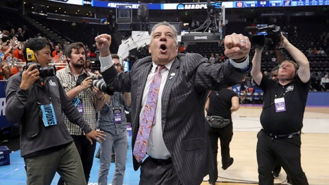 <p>               Auburn coach Bruce Pearl shouts to Auburn fans following the team's victory over Kansas in a second-round game in the NCAA men's college basketball tournament Saturday, March 23, 2019, in Salt Lake City. (AP Photo/Rick Bowmer)             </p>
