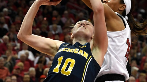 <p>               Louisville guard Asia Durr (25) attempts to block the shot of Michigan guard Nicole Munger (10) during the first half of a second-round game in the NCAA women's college basketball tournament in Louisville, Ky., Sunday, March 24, 2019. (AP Photo/Timothy D. Easley)             </p>