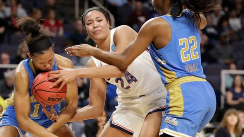 <p>               UCLA forward Lajahna Drummer, left, gets the basketball to her face as she tries to steal the ball from Connecticut forward Napheesa Collier (24) with UCLA guard Kennedy Burke (22) defending during the first half of a regional semifinal game in the NCAA women's college basketball tournament, Friday, March 29, 2019, in Albany, N.Y. (AP Photo/Kathy Willens)             </p>