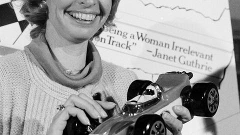 <p>               FILE - This April 6, 1978, file photo shows Janet Guthrie posing with a toy race car at a news conference in New York. Guthrie, the first woman to qualify and compete in both the Daytona 500 and the Indianapolis 500, was dropped from the list of nominees for NASCAR's Landmark Award that honors contribution to the sport. (AP Photo/Marty Lederhandler, File)             </p>