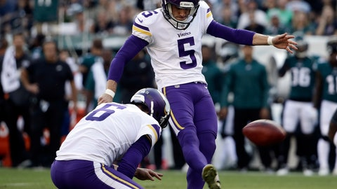 <p>               FILE - In this Oct. 7, 2018, file photo, Minnesota Vikings' Dan Bailey (5) kicks a field goal during the first half of an NFL football game against the Philadelphia Eagles in Philadelphia. The Vikings have agreed to terms on a new contract with Bailey, the ninth-year veteran who was signed last season to replace struggling rookie Daniel Carlson.  (AP Photo/Matt Rourke, File)             </p>
