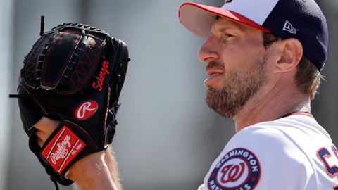"""<p>               FILE - In this Feb. 16, 2019, file photo, Washington Nationals pitcher Max Scherzer starts his windup while throwing a bullpen session during spring training baseball practice, in West Palm Beach, Fla. Go back to 1978, and there were more than 1,000 complete games in the majors. Move to 2003, and the total was about 200. In 2018, though, there were only 42. """"They're really holding starters down to 100 pitches and not letting you go past that. If you do, maybe you get 110. But you rarely see guys get to 120 anymore,"""" Scherzer said.(AP Photo/Jeff Roberson, File)             </p>"""