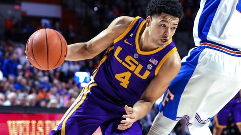 <p>               LSU guard Skylar Mays (4) drives to the basket during the first half of the team's NCAA college basketball game against Florida in Gainesville, Fla., Wednesday, March 6, 2019. (AP Photo/Gary McCullough)             </p>