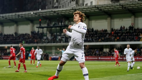 <p>               France's Antoine Griezmann celebrates after a goal during the Euro 2020 group H qualifying soccer match between Moldova and France at Zimbru stadium in Chisinau, Moldova, Friday, March 22, 2019. (AP Photo/ Roveliu Buga)             </p>