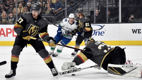 <p>               Vegas Golden Knights goaltender Marc-Andre Fleury (29) dives to block the puck with defenseman Shea Theodore (27) covering during the first period of an NHL hockey game against the Vancouver Canucks Sunday, March 3, 2019, in Las Vegas. (AP Photo/David Becker)             </p>