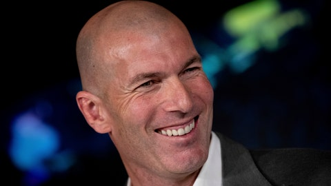 <p>               Newly appointed Real Madrid head coach Zinedine Zidane smiles, during a press conference in Madrid, Monday March 11, 2019. Real Madrid picked one of its most successful coaches to try to end one of its worst crises.  Zinedine Zidane is returning to coach Real Madrid, the club he led to three straight Champions League titles. (AP Photo/Bernat Armangue)             </p>