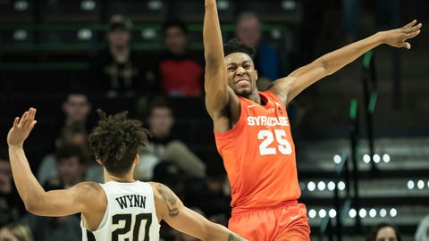 <p>               Syracuse guard Tyus Battle (25) loses control of the ball while pressured by Wake Forest guard Michael Wynn (20) during the second half of an NCAA college basketball game, Saturday, March 2, 2019, at Joel Coliseum in Winston-Salem, N.C. (Allison Lee Isley/The Winston-Salem Journal via AP)             </p>