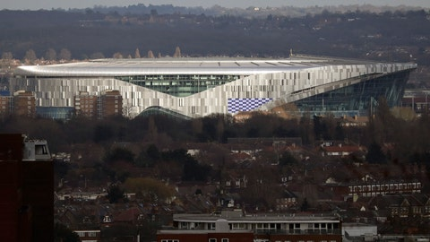<p>               FILE - In this Feb. 20, 2019, file photo, the new Tottenham Hotspur stadium in north London is viewed. Tottenham will play the first soccer game in its new stadium in April. Spurs were due to move into the 62,000-seat stadium in September, but construction delays forced them to continue playing at their temporary home in Wembley. (AP Photo/Matt Dunham, File)             </p>