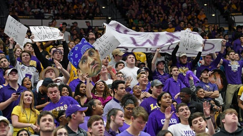<p>               The LSU student section waves signs and banners supporting embattled LSU head coach Will Wade in the first half of an NCAA college basketball game, Saturday, March 9, 2019, in Baton Rouge, La. (AP Photo/Bill Feig)             </p>
